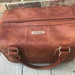 Vintage Samsonite Leather Overnight Bag Train Case